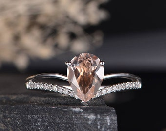 Pear Shaped Engagement Ring White Gold Morganite Diamond Ring Chervon Band Solitaire Bridal Wedding Ring Half Eternity Anniversary Women