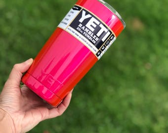 Powder coated | 20oz Yeti rambler Tumbler | stainless steel | mug with the lid | Corkey Pink