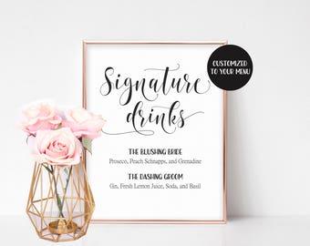 Wedding drink menu | Etsy