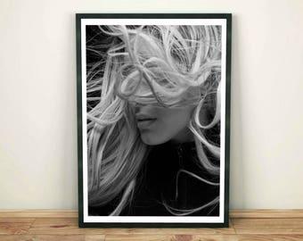 Fashion Model Print, Woman Print, Fashion Wall Art, Black and White Print, Woman Poster, Modern Decor, Model Wall Print, Printable Wall Art