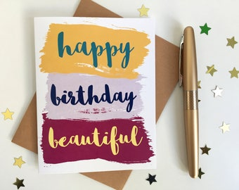 Happy Birthday Beautiful // Birthday Card for Her  // Birthday Card for Girlfriend, Wife // by HulaHedgehog