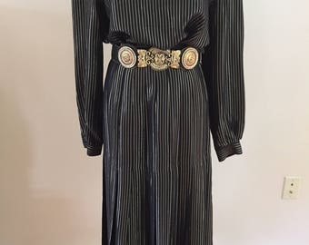 Early 1980s Vintage Valentino Black Silk and Gold Metallic Pleated Skirt/Matching Blouse (Belt Sold Separately)