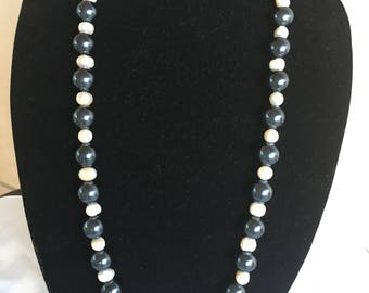 Black and White pearl long   necklace
