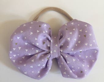 Fabric bow - Puff bow - Lilac bow - Purple Geo bow - Purple Printed bow - Baby bow - Baby headband - Little girl bow