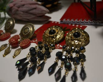 Vintage Chandelier Set  Chandelier Earrings  Artsy  Vintage Runway Earrings  Gold and Black Clip On earring Brass and Red Clip On