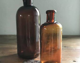 Vintage Amber Apothecary Glass Bottles / Vintage Home / Antique Decor / Oddities