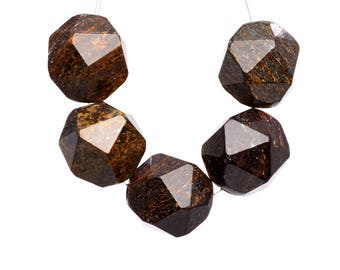 36 / 18 Pcs - 10MM Toffee Bar Bronzite Beads Grade AAA Star Cut Faceted Genuine Natural Gemstone Loose Beads (102583)