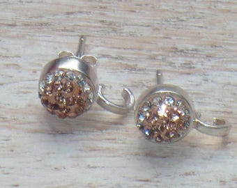 Rose Gold Pave Cz Encrusted Sterling Silver Stud Earring Posts with Hook