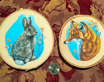 Hand painted Fox and Rabbit Coasters