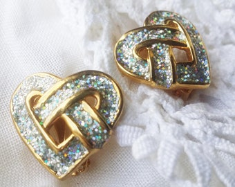 Elegant Glitter Enamel Clip Earrings - 1980s -  Beauties! - Great for a Wedding or other Special Occasions