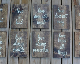 Love is Patient, Love is Kind, Love Never Fails - 1 Corinthians 13:4 -Wooden Wedding Sign - Rustic Wedding Decor - Personalized Wedding Sign