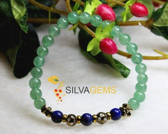 Natural Green Aventurine and Blue Lapis Lazuli Gemstone Stretch Beaded Bracelet. Lapis Lazuli Jewellery. Aventurine Jewellery. Free Delivery