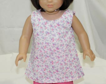 """18"""" American Made Girl Doll Clothes, Modeled on Christie American Girl Doll, White Floral Top With Pink Pants"""