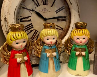Vintage Ardco Christmas Angel Candle Holders / Kitsch /Crowns/ Choir Singers