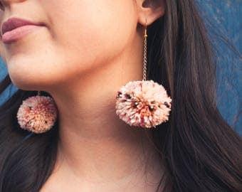 SPANISH SUNSET Pom Pom Earrings