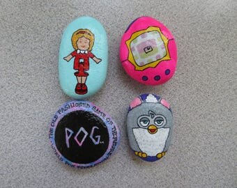 90s Kids Toys Painted Rock Magnets (Set of 4)