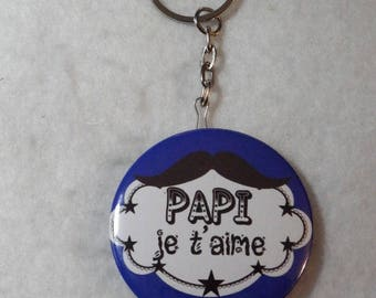 "Keychain bottle opener blue gift GRANDPA ""Grandpa I love you"""