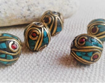 The Lot of 5 ethnic pearls semi Nepal-Pierre Précieuses-pearl of the World