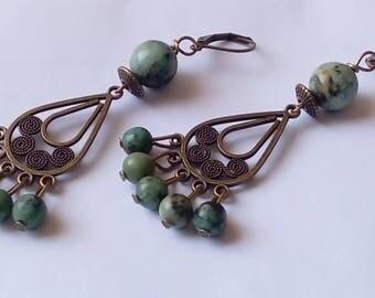 African turquoise chandelier earrings