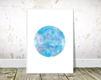 Blue Abstract Painting, Blue Circle, Printable Art, Blue Watercolor Print, Watercolor Printable, Abstract Watercolour Print, Modern Wall Art