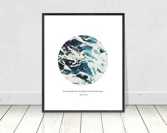 Poetry Print, In One Drop Of Water, Kahlil Gibran Quote, Printable Quote Art, Sea Wall Art, Ocean Quote Print, Literary Prints, Book Quotes