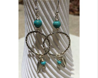 Silver plated & turquoise colored earrings