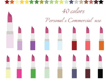 Lipstick clipart, Glitter Lipstick clip art, Lipstick icon, Lipstick graphic, Makeup clipart, Commercial use, CL-040