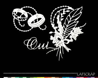 Cuts scrapbooking scrap feather Yes wedding wedding rings embellishment die cut paper cut