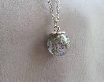 Necklace 77 cm + pendant 2 cm, including blue Statice dried flower resin Sphere