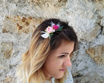 Pink and green fabric flower Barrette