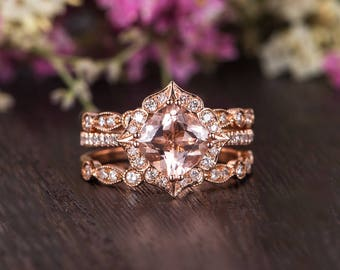 Cushion Cut Morganite Bridal Set Antique Rose Gold Engagement Ring Diamond Retro Anniversary Wedding Band Women Flower Floral Set 3 pieces