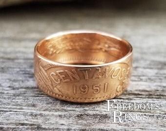 1951 Mexican Bronze 20 Centavos Coin Ring