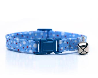 Baby blue with red and white dots Cat Collar with breakaway buckle