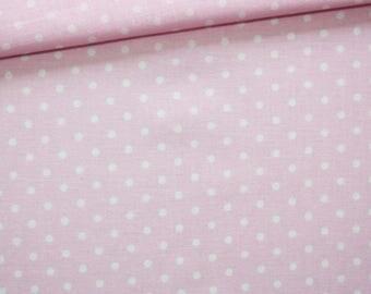 Pink white polka dots fabric, 100% cotton 50 x 160 cm pattern dots on pink