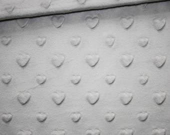 Minky fabric, light grey hearts, 50 x 165 cm, very soft minkee