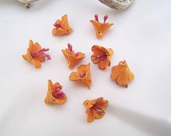 9 flowers orange, modeled in cold porcelain