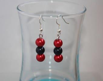 Earrings red & Black