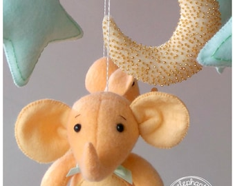Elephant Baby Mobile with Baby Crib Mobile Holder and Muzic Box