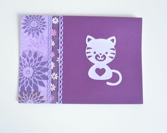 Card mauve cat for birth / birthday / congratulations