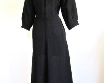 Sz. M, 30s Rayon Dress in Black Crepe with Gold Sequined Neckline, K dresses by J.E. Kirkwood, Seattle