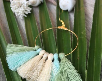 Hoop earrings Gypsy Pastel Golden tassels ecru, green and turquoise.