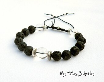 Women adjustable Bracelet rock crystal and lava stone