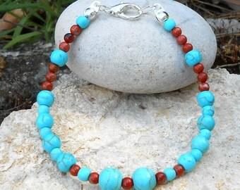 Turquoise howlite beads (length: 19.5 cm) Red Jasper Beads Bracelet