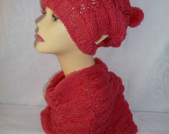 Hat and snood hand knit wool and acrylic – Bengal Rose