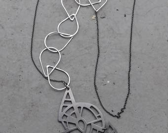 silver,bronze,handmade,drops,art deco,boho,gift for her,christmas gift,statement,unique,platinum platted,pendant,chain,necklace