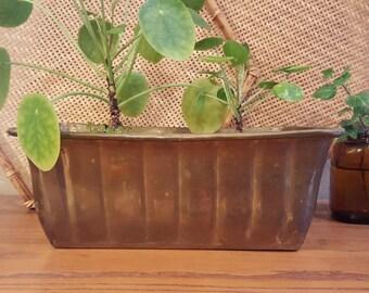 Medium vintage rectangular brass planter with lots of detail.  Rustic brass planter.  Boho, weatherd, vintage brass planter.
