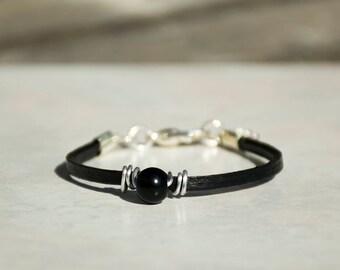 Black Leather Bracelet For Women, Beaded Bracelet, Wrapped Women Bracelet, Leather Lace Bracelet, Glass Beads Bracelet, Ideal Gift For Her.