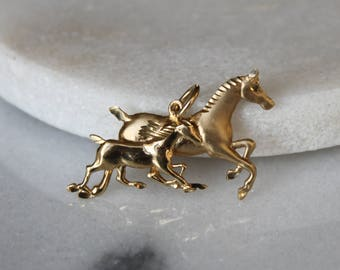 Vintage Galloping Horses Pendant Charm | 10k Yellow Gold | Horse Necklace