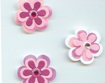Fleur - Pink White mother of Pearl - 5 x 3D embossed stickers