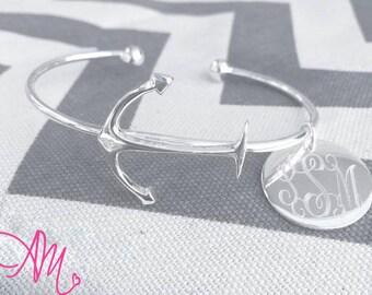 Monogram Bracelet, Monogram Anchor Bracelet, Monogram Bracelets, Anchor Bracelet, Monogram Bangle, Monogram Bangle Bracelet